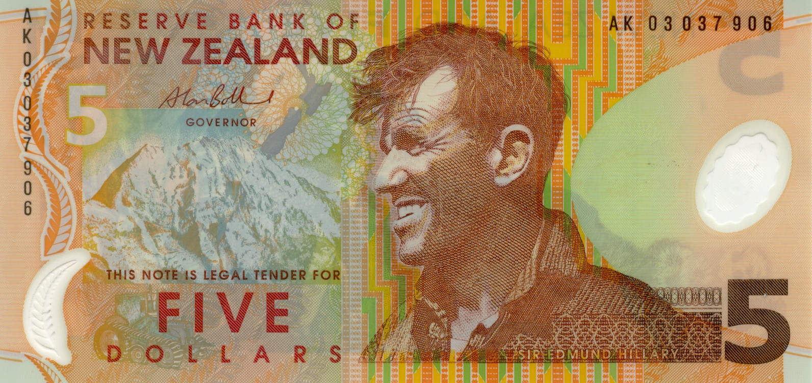 New-Zealand-Dollar-NZD-5-bank-note-2003-issue-Alan-Bollard-signature-Hillary-Everest-Massey-Fergusson-tractor-front-KAR