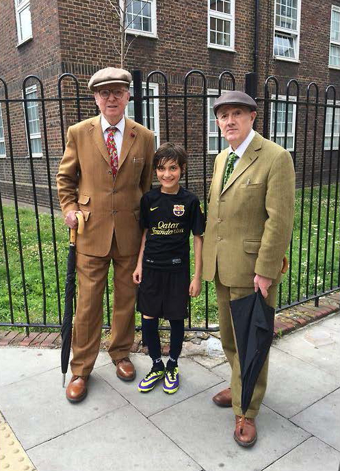 Gilbert and George go for a kick about with Maui